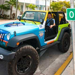Driving a jeep past Mile Marker Zero