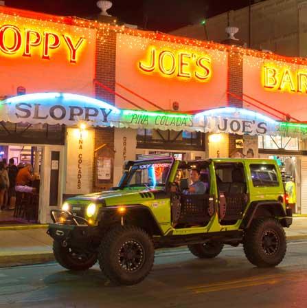 Cruising Duval Street in front of Sloppy Joes