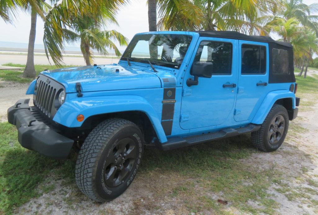 Blue 4-door Wrangler