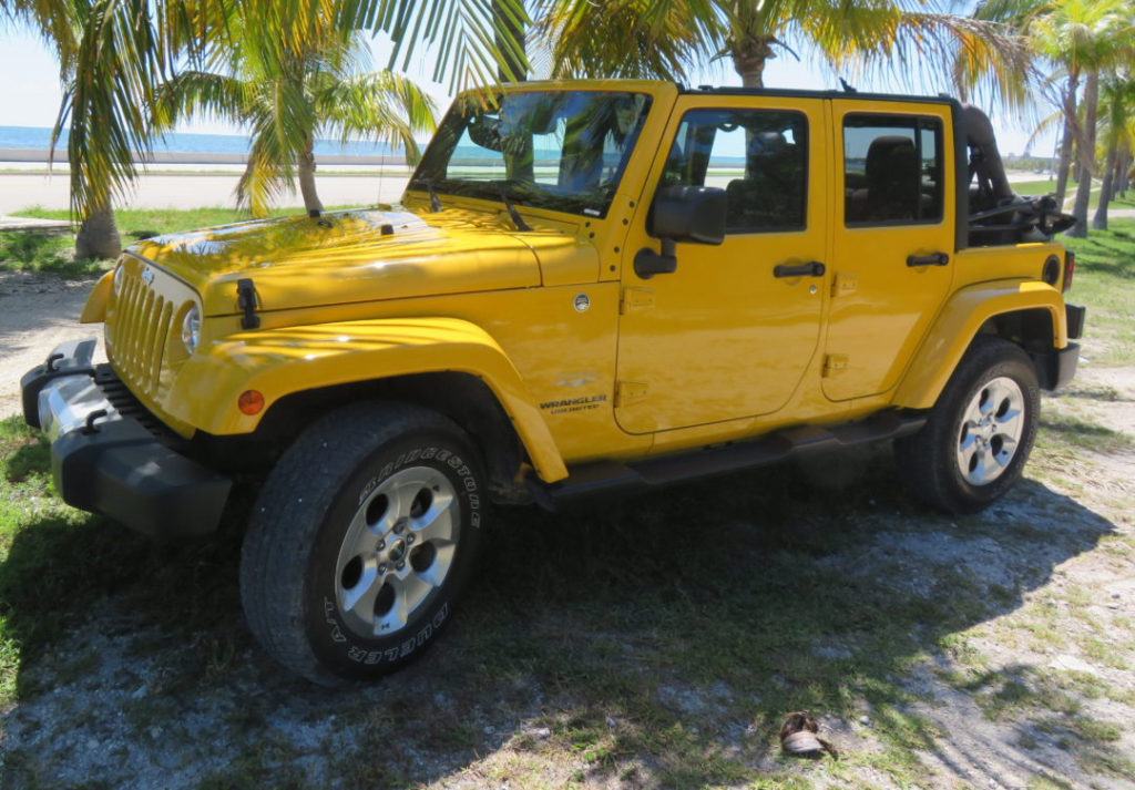 Yellow 4-door Wrangler